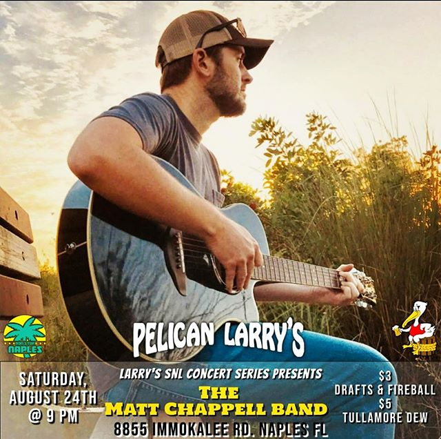 Excited to play Saturday Night at Pelican Larry's on Immokallee Road.  Hope to see y'all there!  #getreadytodance #naplesfl #singersongwriters