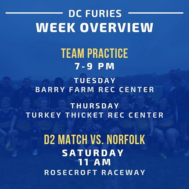 Big week ahead! Practice Tuesday & Thursday with D2's first match of the season on Saturday vs @757womensrugby. ⚡️ GET PUMPED.