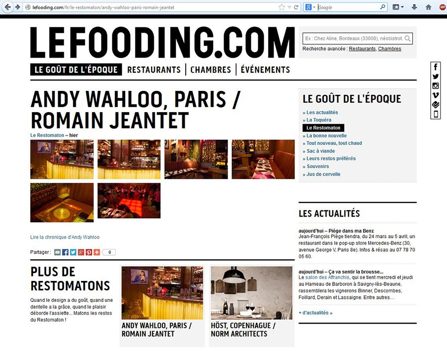 "Andy Wahloo in ""Le Fooding"""