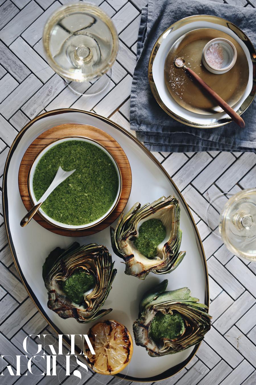 Grilled Artichoke Arugula Pesto Recipe | Kristin Guy HGTV | Dine X Design