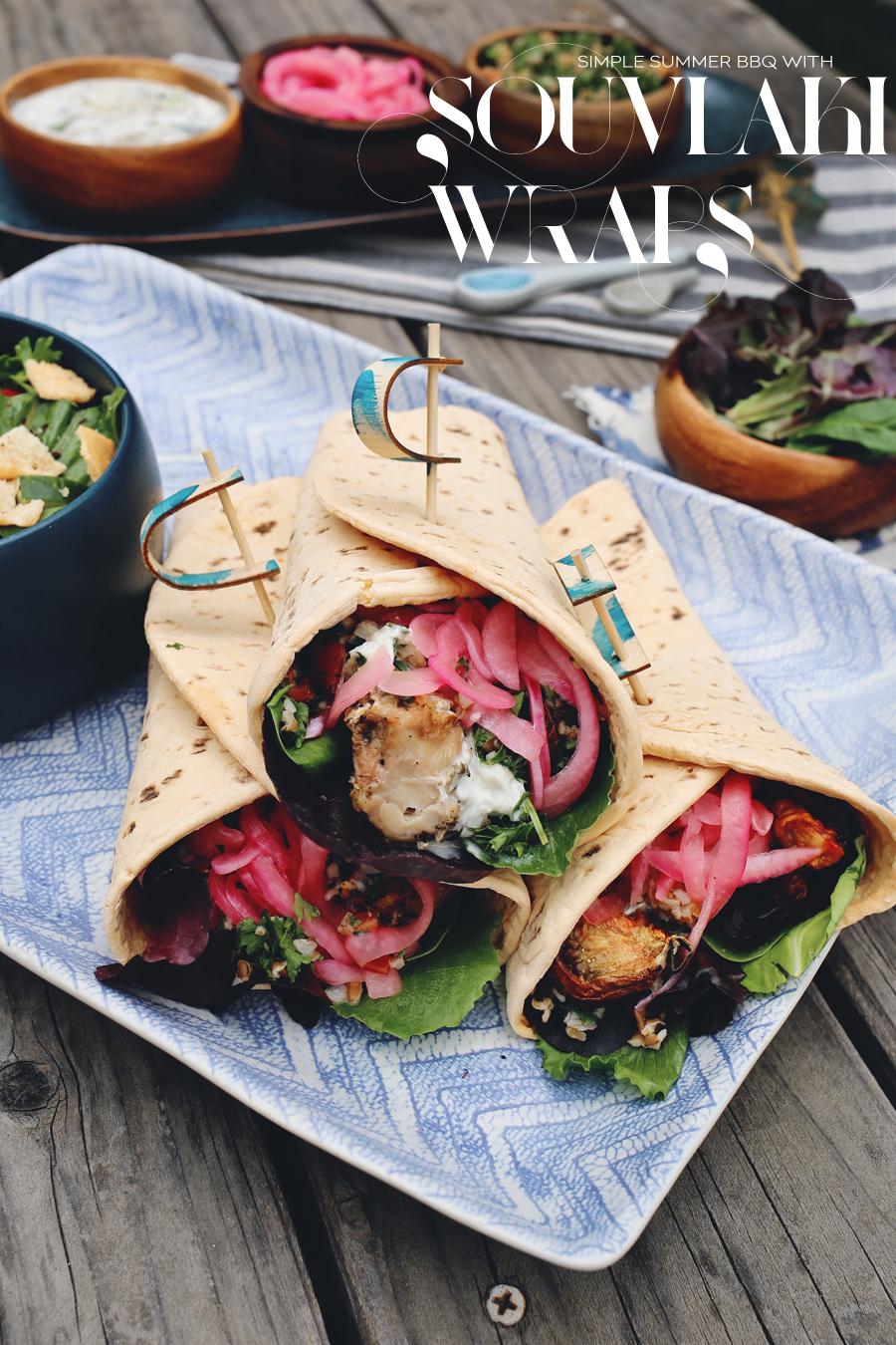 Grilled Chicken Souvlaki Wraps   Dine X Design