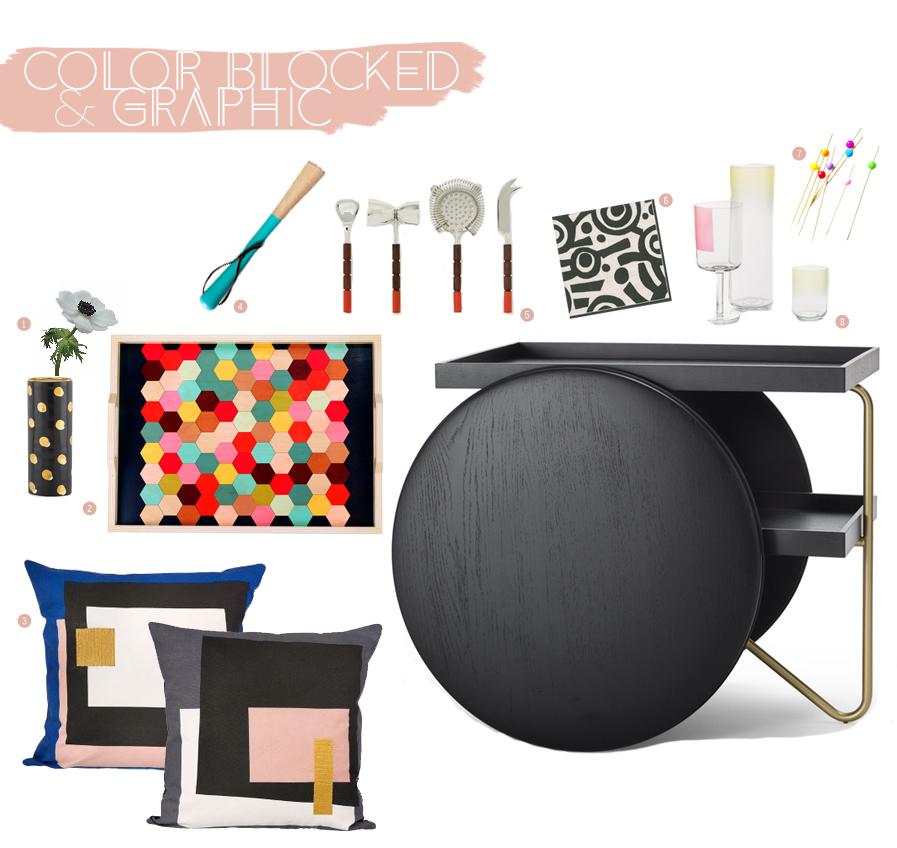 Graphic & Color Blocked Bar Cart | Dine X Design