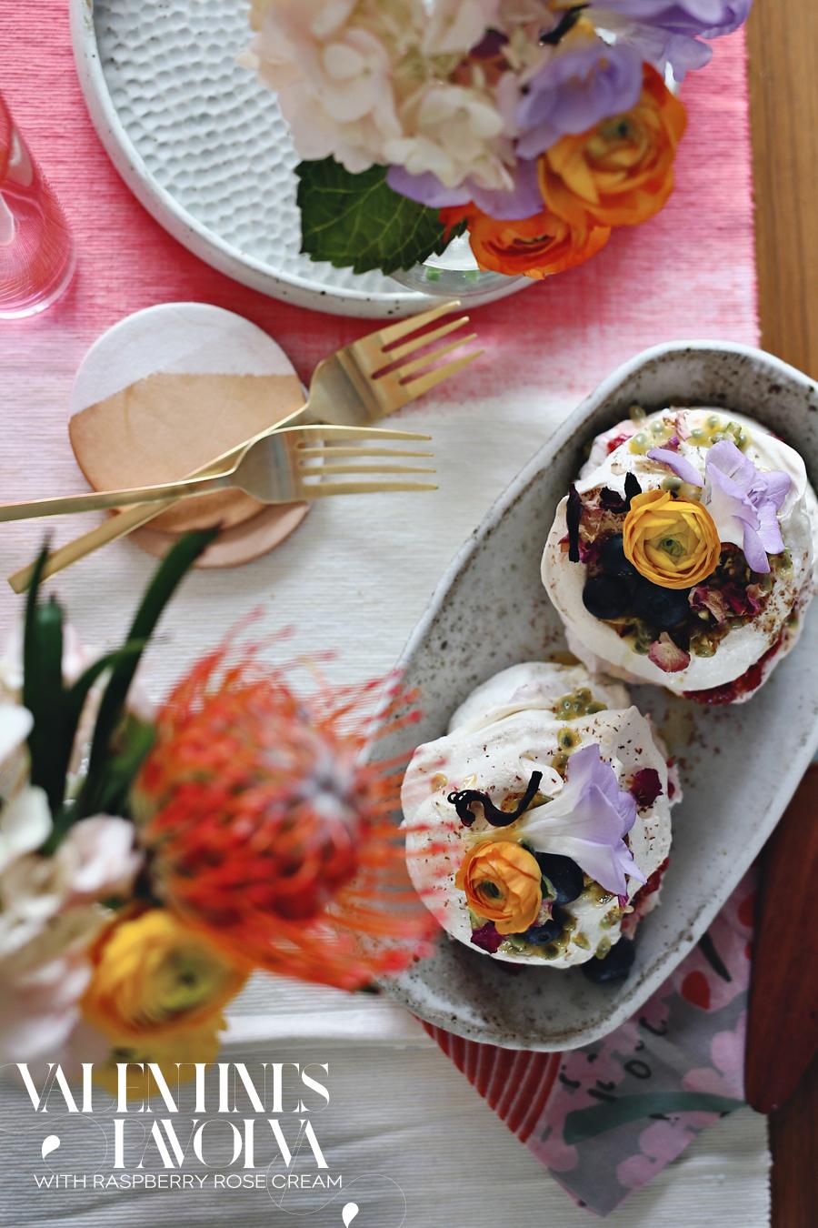 Valentines Pavlova With Raspberry Rose Cream   Dine X Design