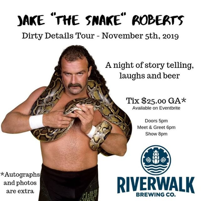 Come for the stories, stay for the laughs while we ride thru --- NOSTALGIA -- GOLDEN ERA of wrestling! #trustme  @riverwalkbrewing @riverwalkbeer #Newburyport #MA  LIMITED TICKETS AVAILABLE !  Show deTails:  https://www.eventbrite.com/e/jake-the-snake-roberts-at-riverwalk-brewing-co-tickets-71821549187