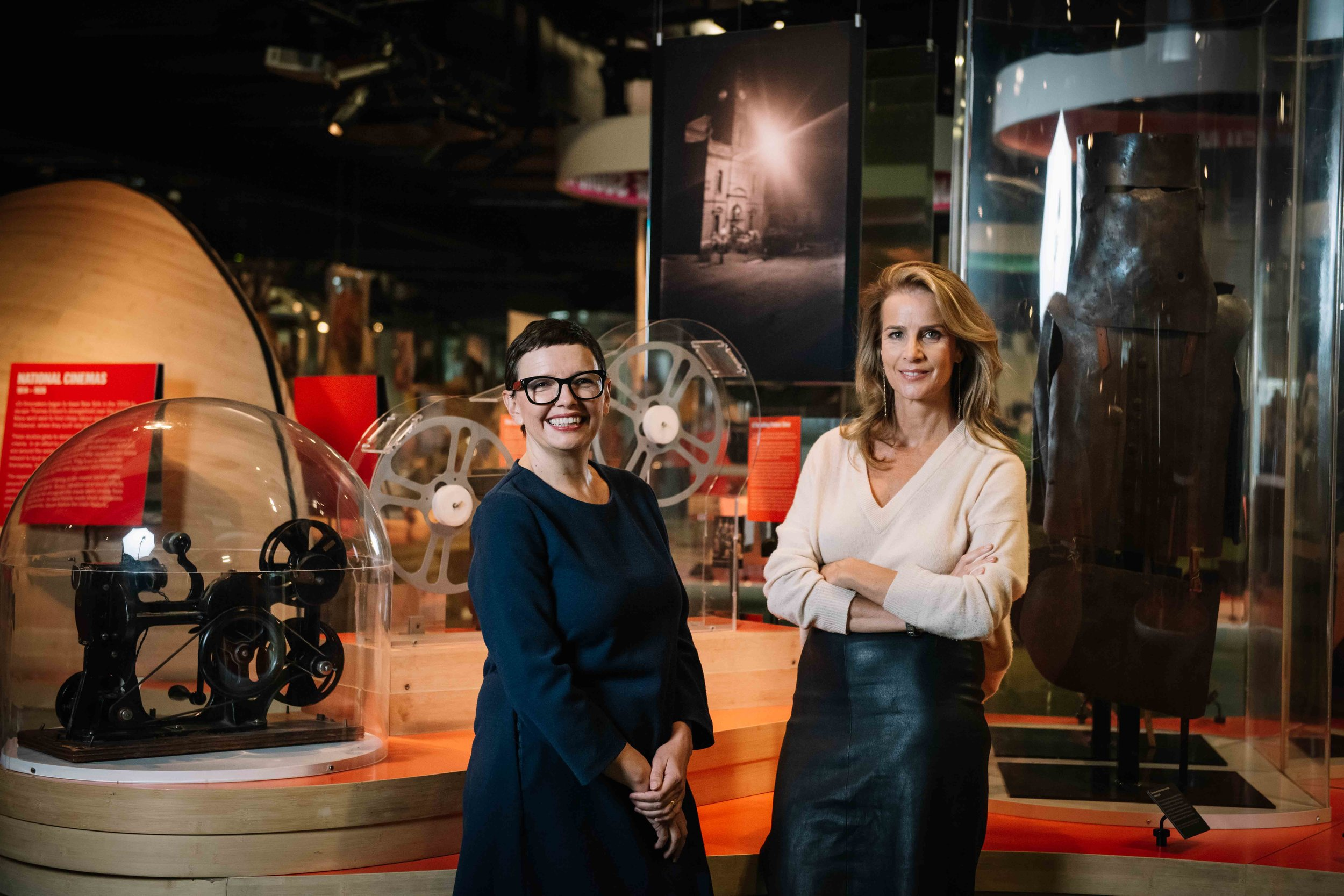 ACMI Director & CEO Katrina Sedgwick with Board Member Rachel Griffiths in Screen Worlds. Photographer: Phoebe Powell
