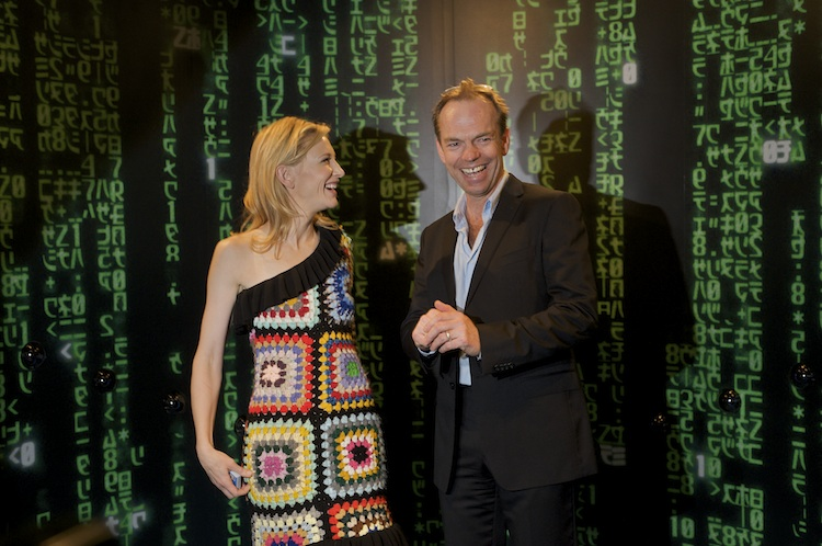 Cate Blanchett and Hugo Weaving enjoying the Matrix Timeslice, at Screen Worlds' opening party in 2009.