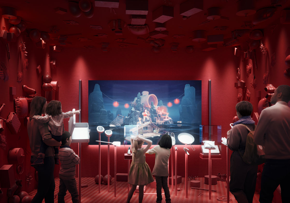 Artist's impression of the 'foley room' which enables visitors to make their own sound effects to popular films.