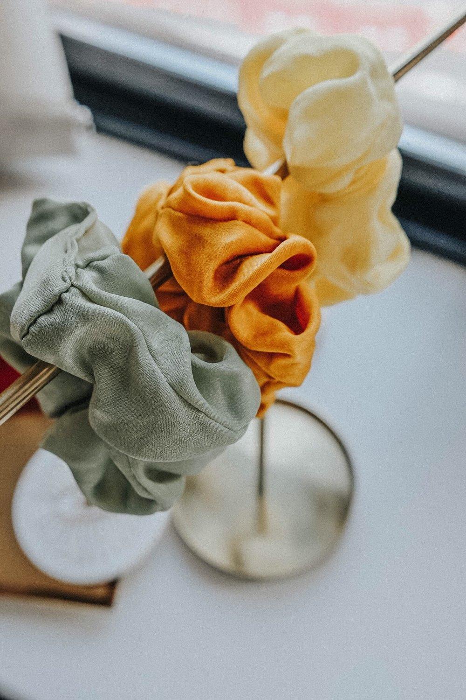 Lemon yellow satin scrunchie!