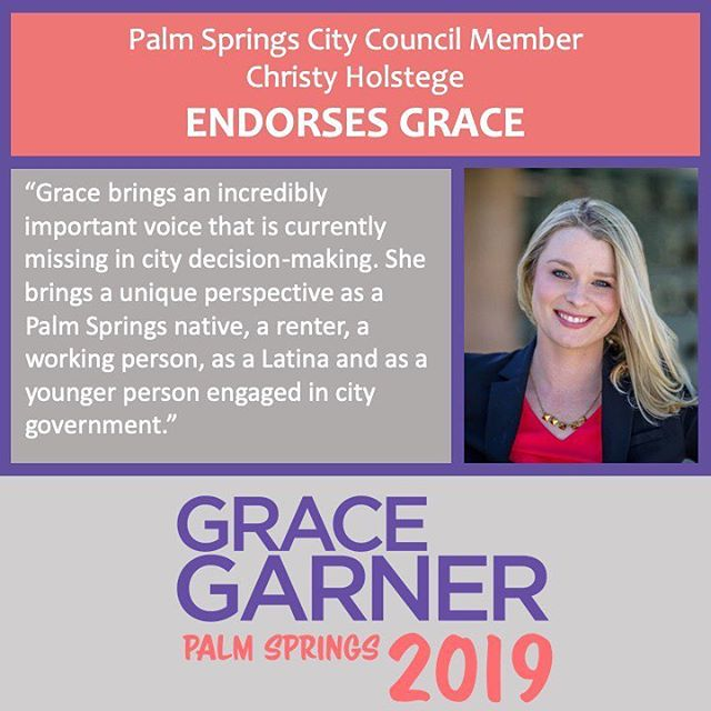 I am proud and honored to have the support and endorsement of Councilmember Christy Holstege. Christy has led the way in supporting our community by being a champion for affordable housing, requesting that all city documents are in English and Spanish, and encouraging diverse participation in our government. 🔥 I look forward to continuing to partner with her from the dais. 🔥  #WeWinWithGrace #GraceGarner4CityCouncil #LeadWomenLead