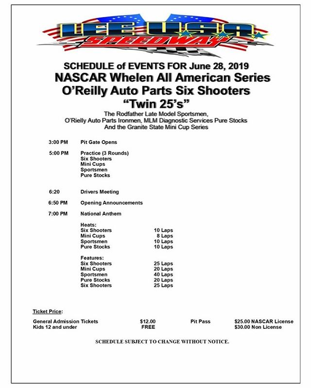 Schedule for this evenings events. 🏁🏁