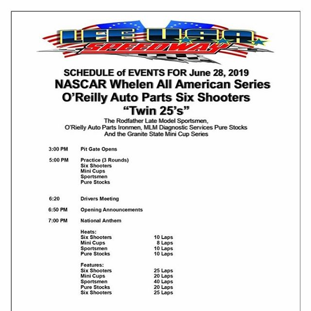 Schedule for tonights events. Pit Admission $30 Nascar License - $35 Non-License. Adults $12 Children 12 and under FREE.