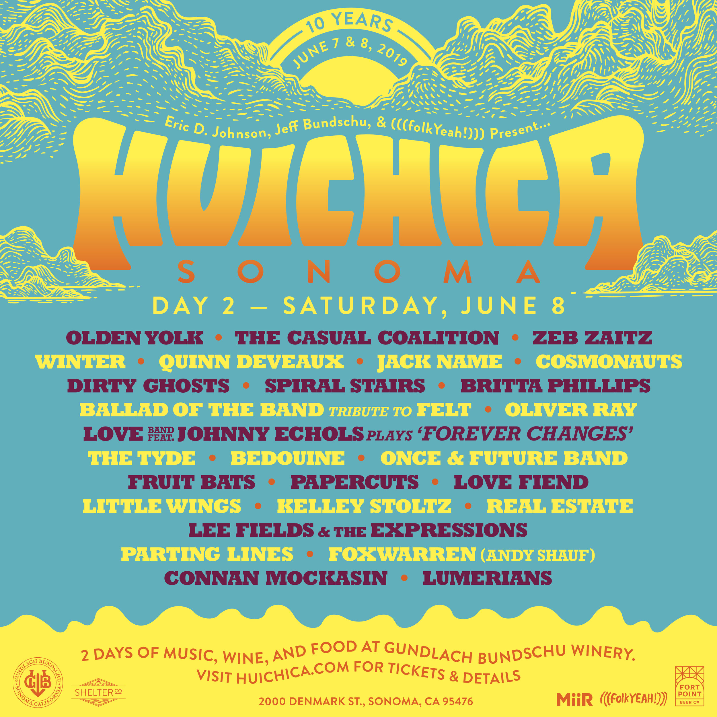 On Saturday Huichica takes over all of Gundlach Bundschu Winery and hosts music across four stages, the Hillside Amphitheater, the Cave Stage, the Giraffe Stage and the Historic Redwood Barn.
