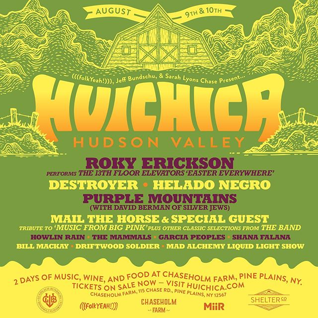 Hudson Valley! Getting excited about Huichica at @chaseholmfarm on August 9th and 10th?! Well brace yourself because we're not done with the lineup yet. We're proud to announce that Destroyer and Purple Mountains (with David Berman of Silver Jews) will be playing Huichica Hudson Valley 2019! Start preparing for one unforgettable weekend filled with family, friends, music, wine, food and grab your tickets today! . . . #Huichica #GunBunWine #FolkYeahEvents #musicfestival  #winefest #localfood #concert #livemusic #lineup #familyfriendly #folkyeah #HudsonValley #NY #newyork #destroyer #purplemountains #davidberman