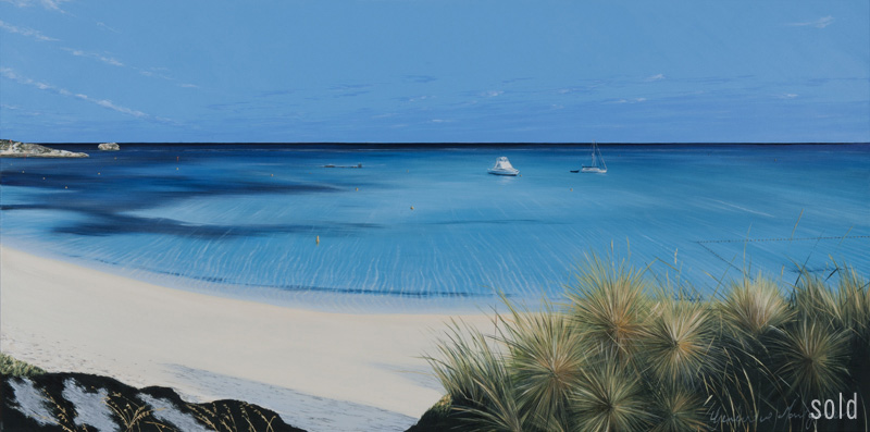 All quiet at Longreach - Rottnest   160x80cm   Acrylic on canvas, 2013   SOLD