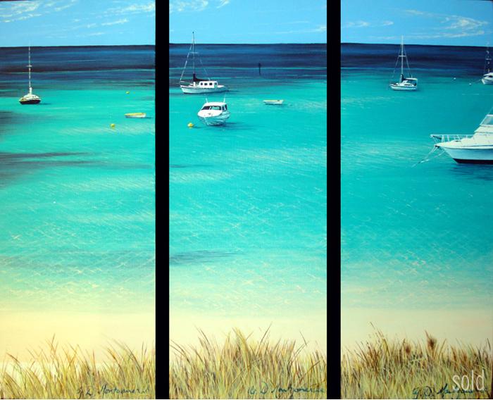 An Aqua Slive of Heaven - 20cm x 51cm x 3 - Acrylic on canvas 2009 - SOLD