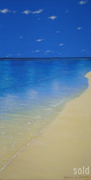 Blue Water Beach - 45cm x 90cm - Acrylic on canvas 2006 - SOLD
