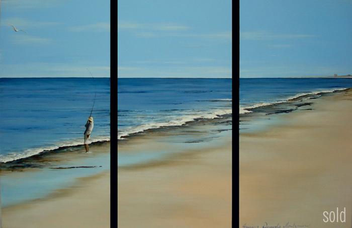 Distant Scarborough - 30 x 60cm x 2 - Acrylic on canvas 2008 - SOLD