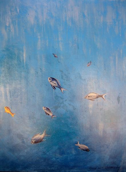 Fishies - 80cm x 100cm - Acrylic on canvas 2006