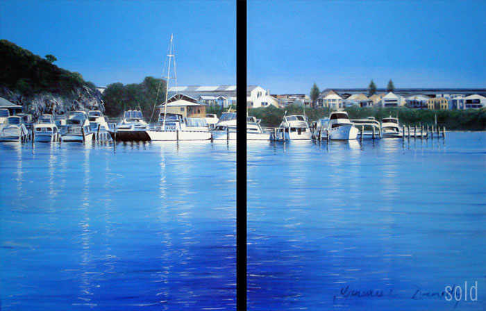 From East Freo to North Freo - 35cm x 50cm x 2 -Acrylic on canvas 2006 - SOLD