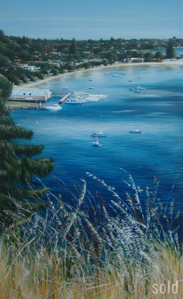 Navy on Silver Morning - 61cm x 119cm - Acrylic on canvas 2010 - SOLD