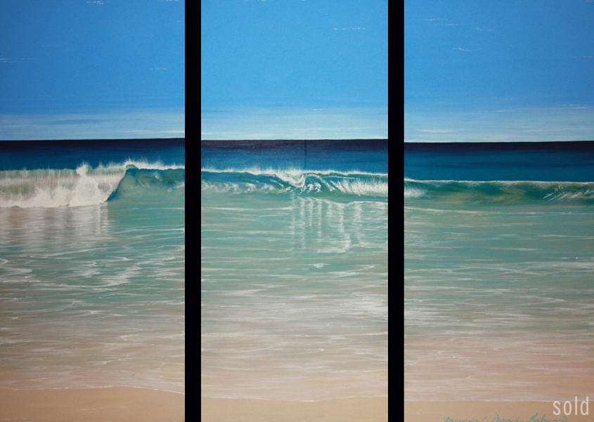 North Cott Dreaming - 41cm x 92cm x 3 - Acrylic on canvas 2007 - SOLD