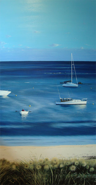 Paddle in for the Paper - 152cm x 76cm - Acrylic on canvas 2009