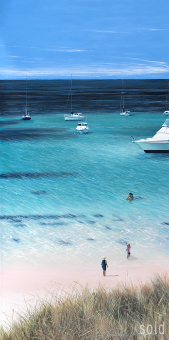 Playing Around, Rottnest, 152 x 76cm, Acrylic on canvas, 2010 - SOLD
