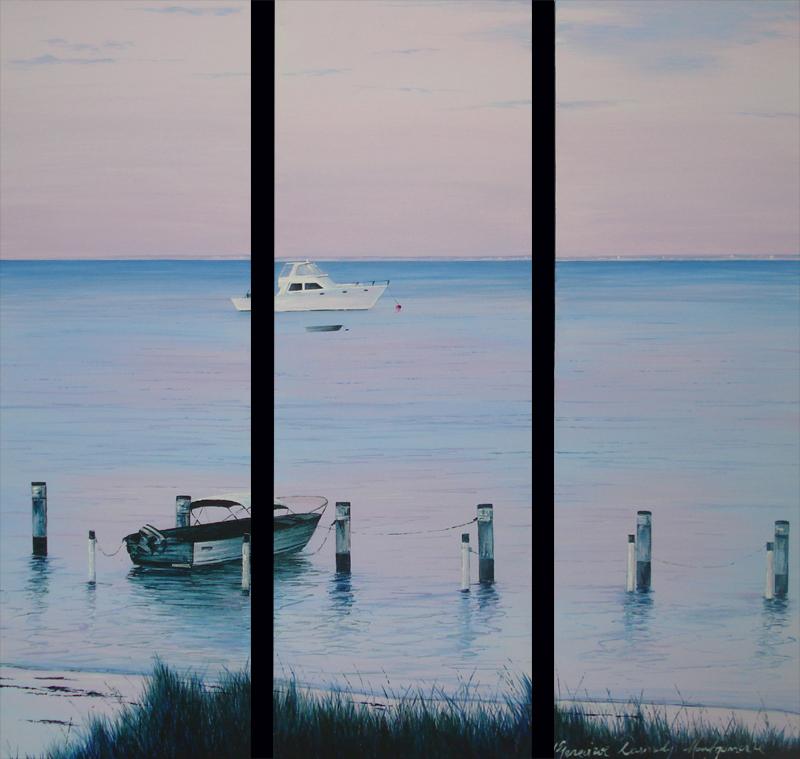 Rottnest Blushing - 20.5 x 61cm x 3 - Acrylic on canvas 2007