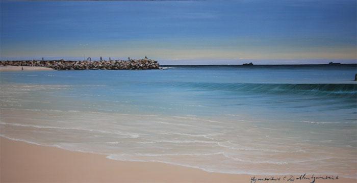 Salmon Morning Cottesloe - 40 x 80.5cm - Acrylic on canvas 2007