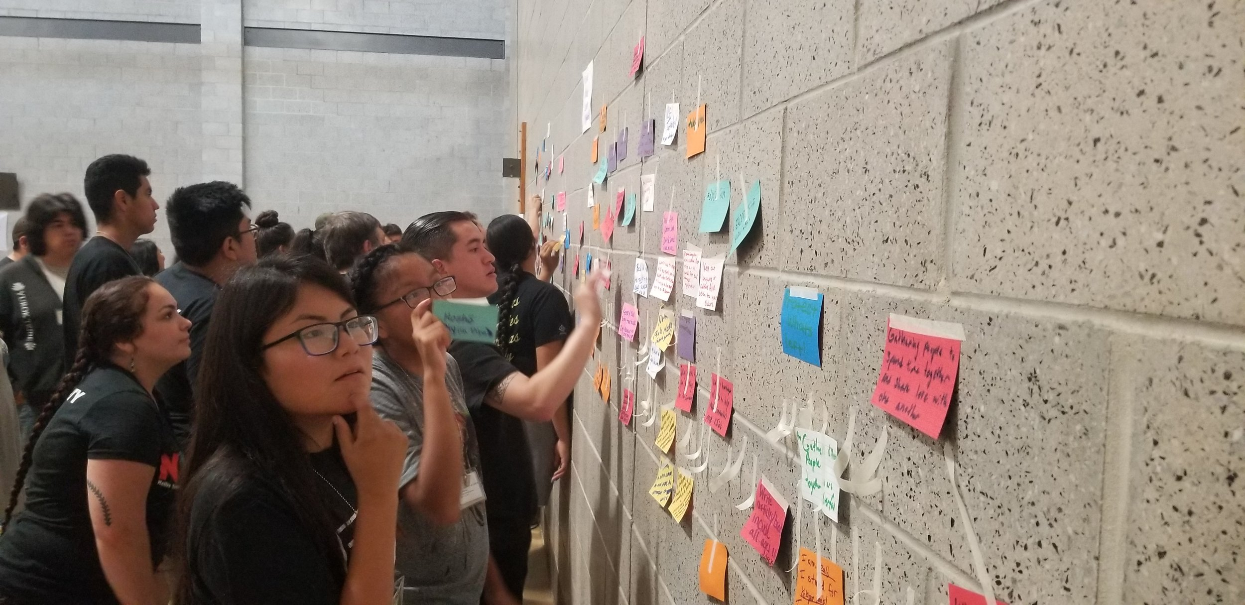 Student participants add their responses to the big question to a wall to get a comprehensive understanding. Photo by USFWS.