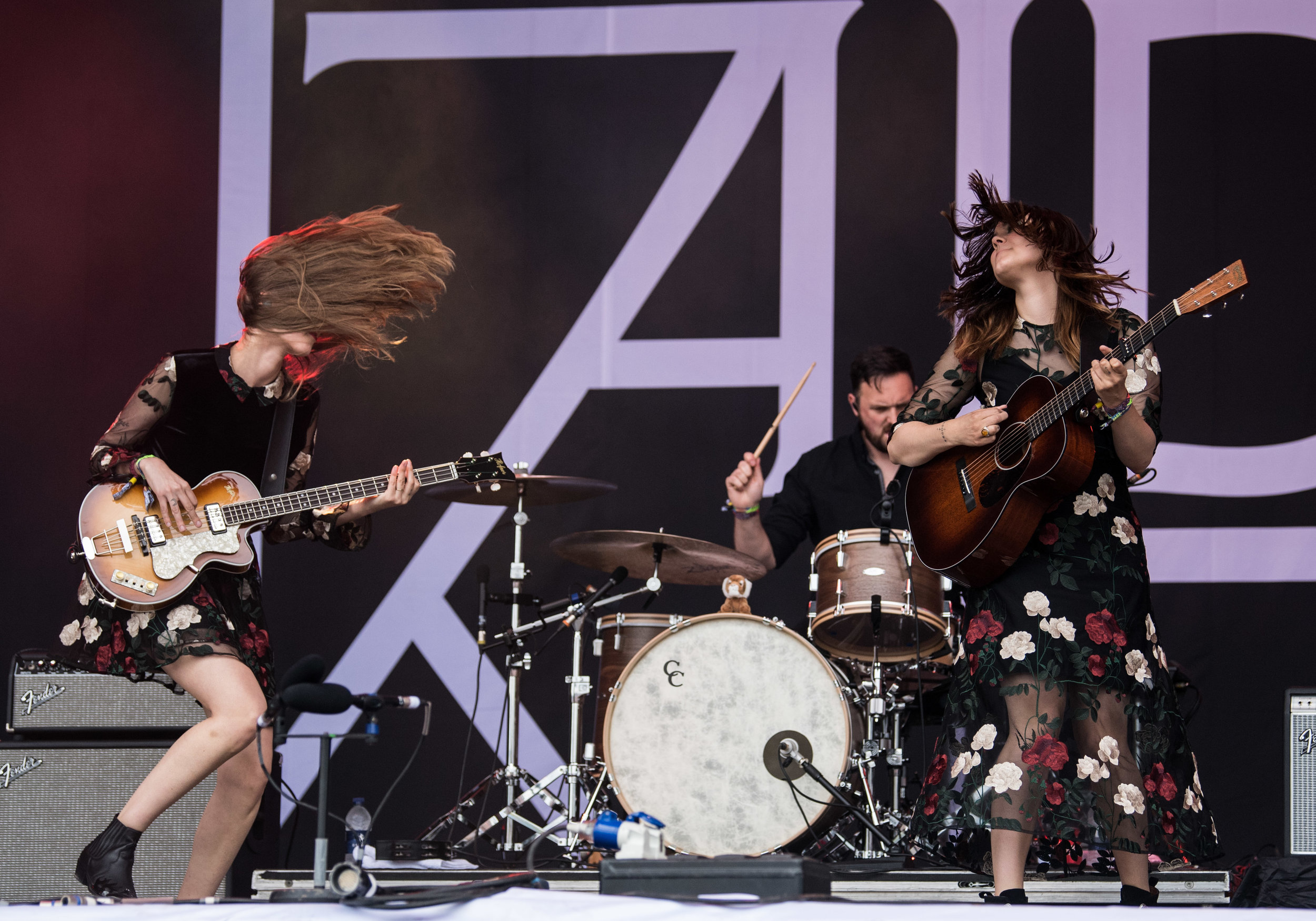 Klara S�derberg and Johanna S�derberg of First Aid Kit performing on the Pyramid Stage