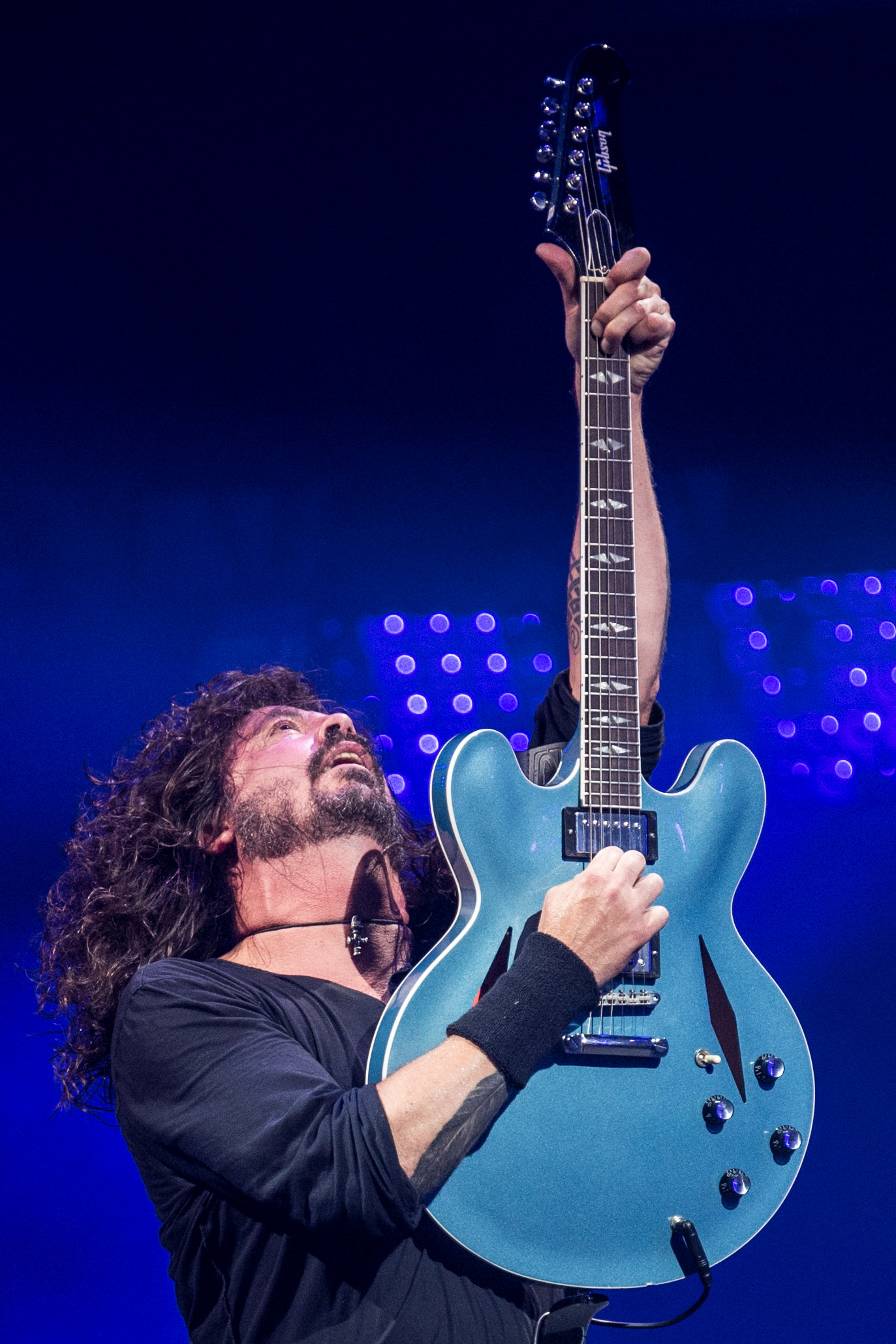 Dave Grohl of the Foo Fighters performing on the Pyramid Stage
