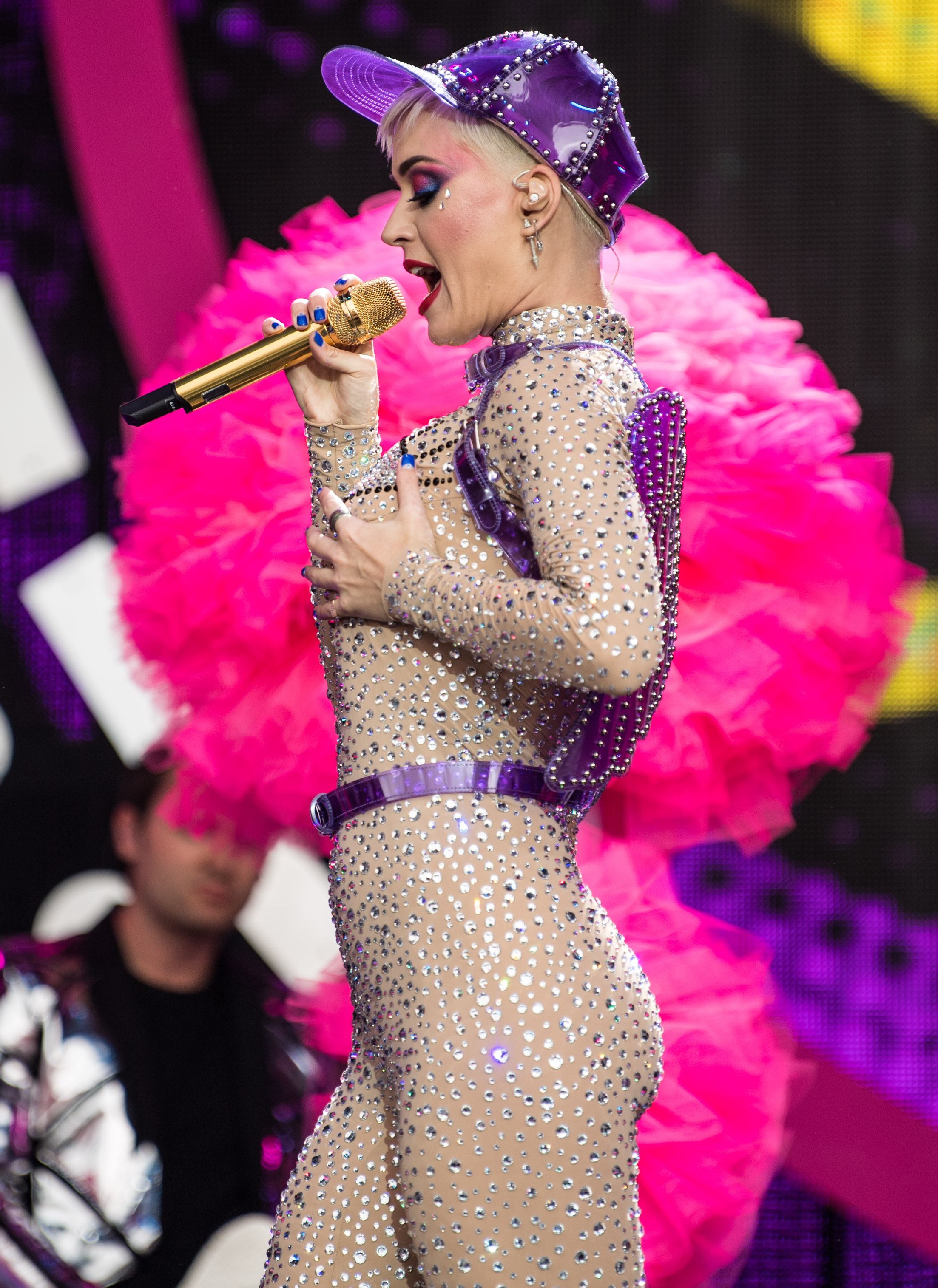 Katy Perry performing on the Pyramid Stage