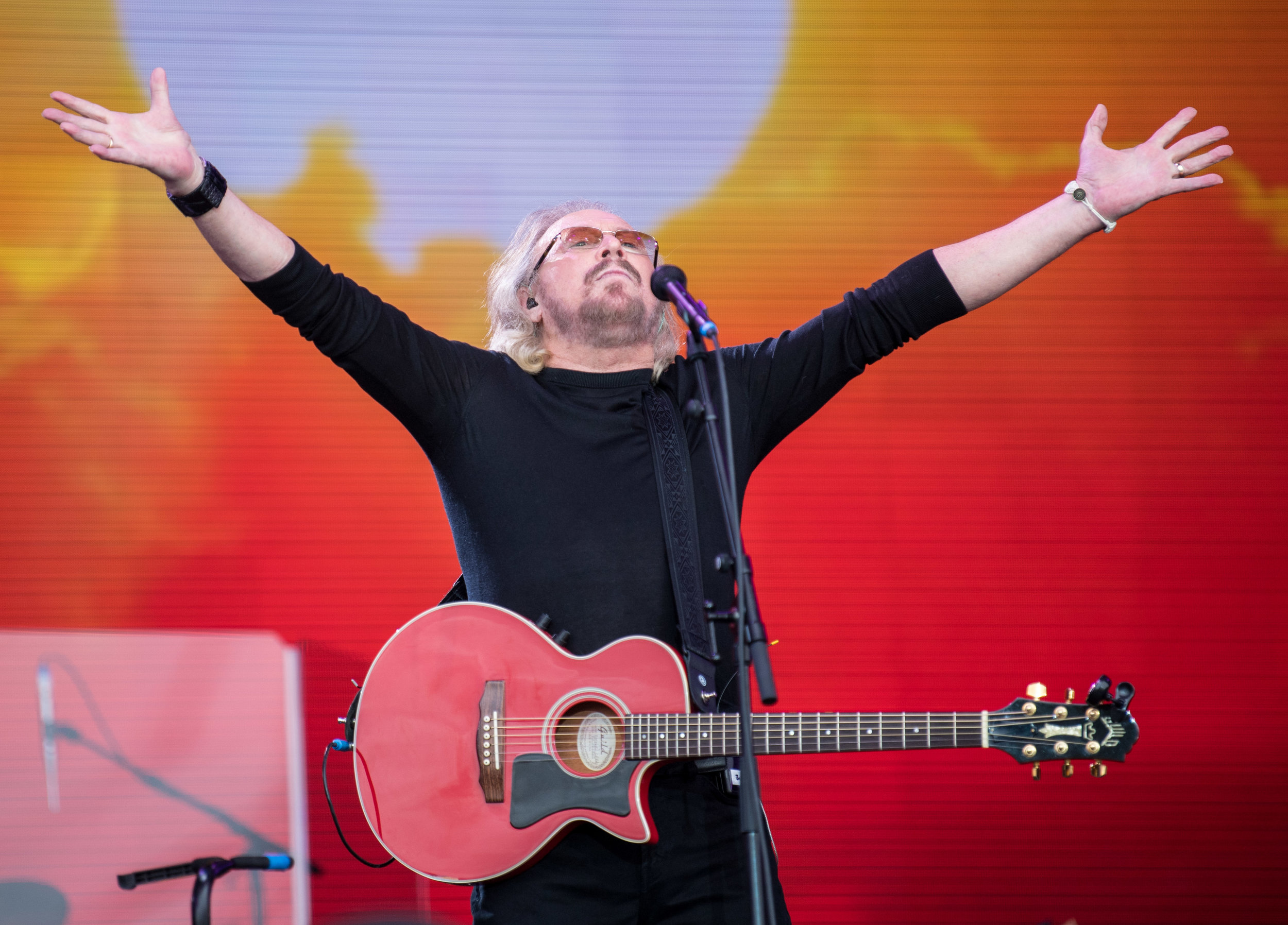 Barry Gibb performing on the Pyramid Stage