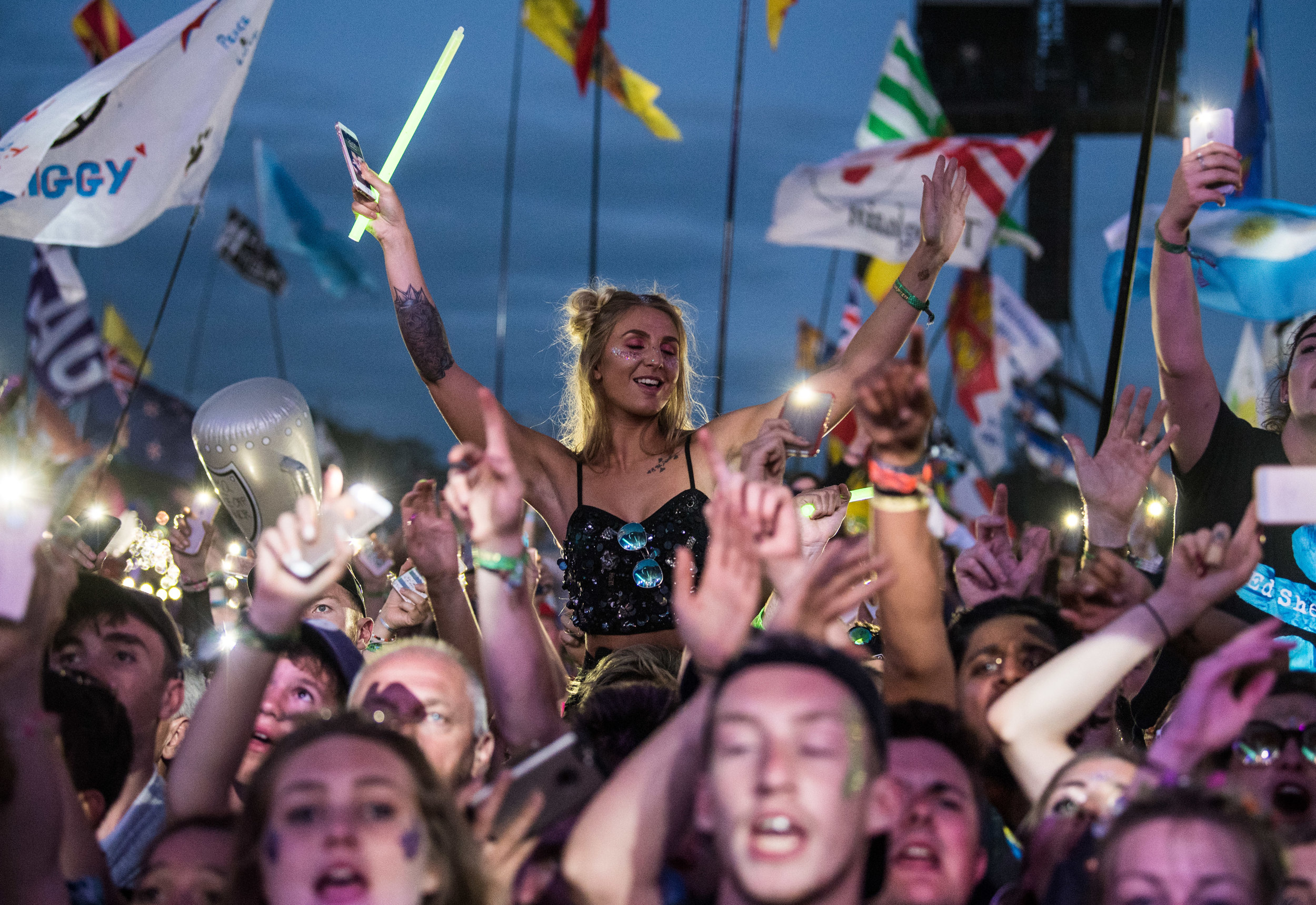 Crowd watching Ed Sheeran performing on the Pyramid Stage
