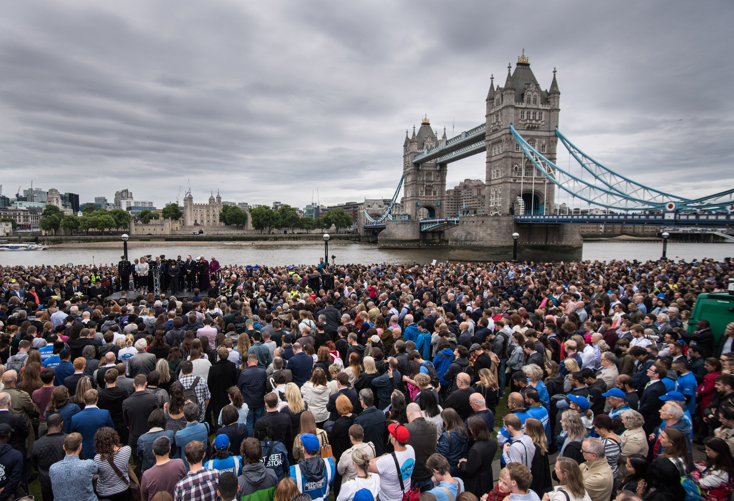 A general view of the Vigil in Potters Field Park, in which Mayor of London Sadiq Khan spoke briefly and then a minutes silence was held