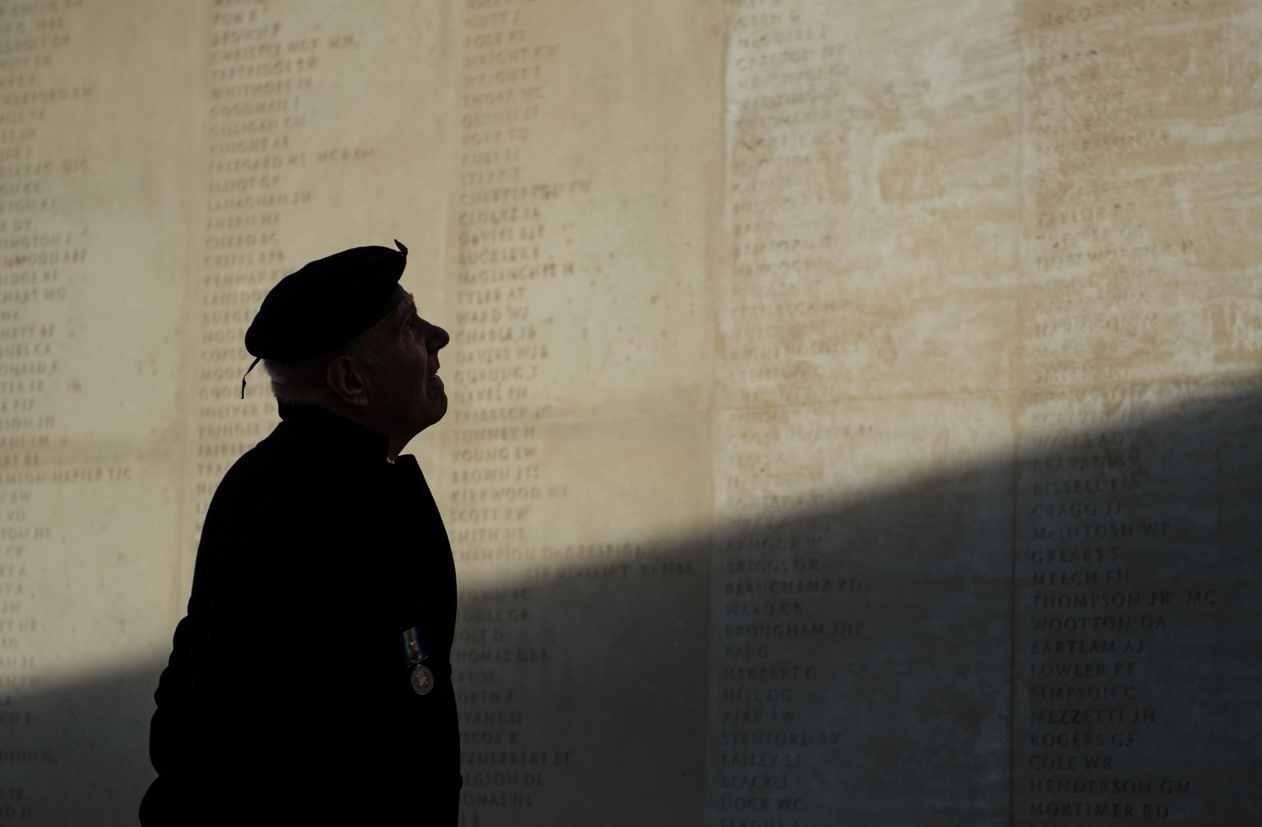 A veteran looking at the Armed Forces Memorial