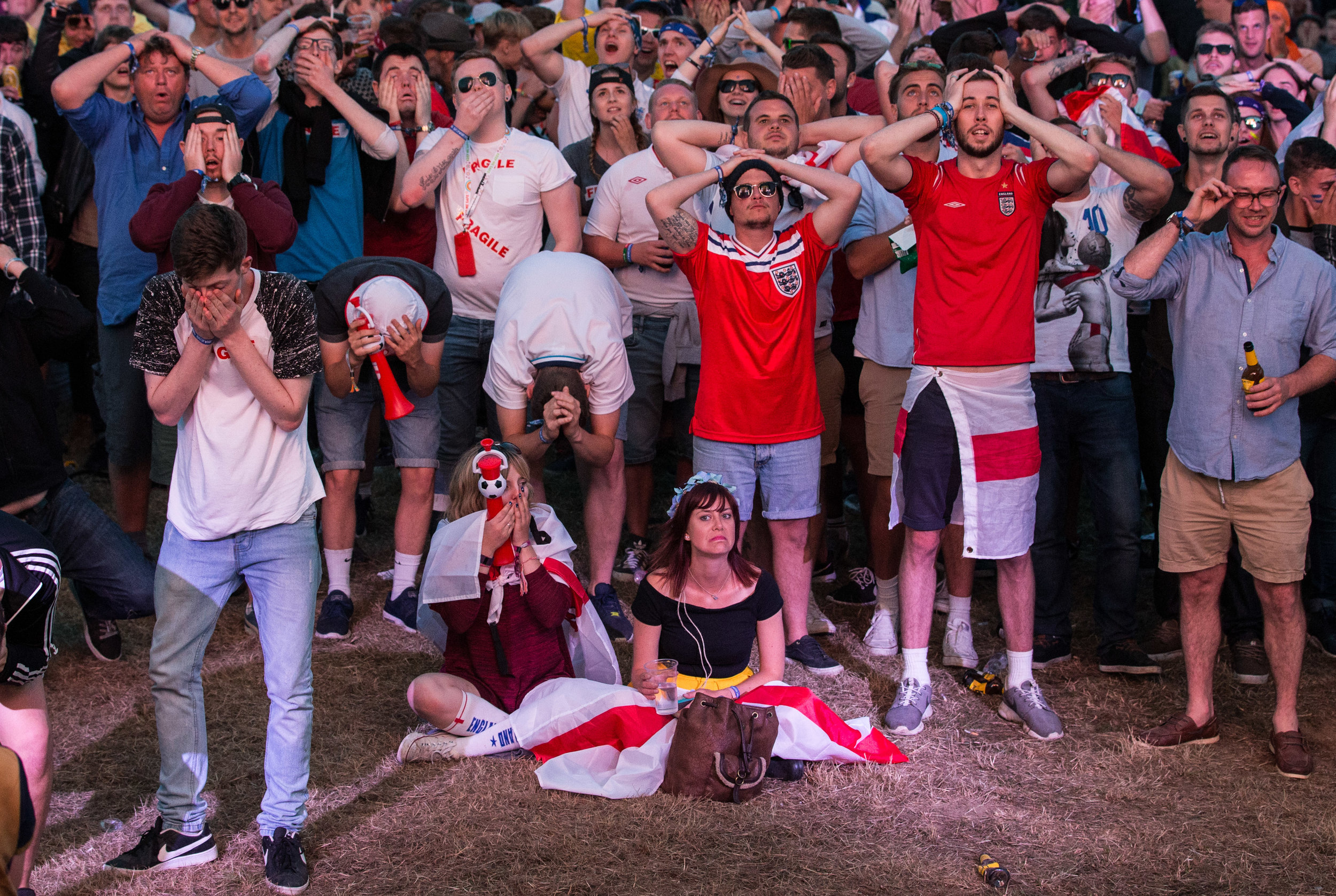 England fans look dejected during the opening 1-1 draw with Russia