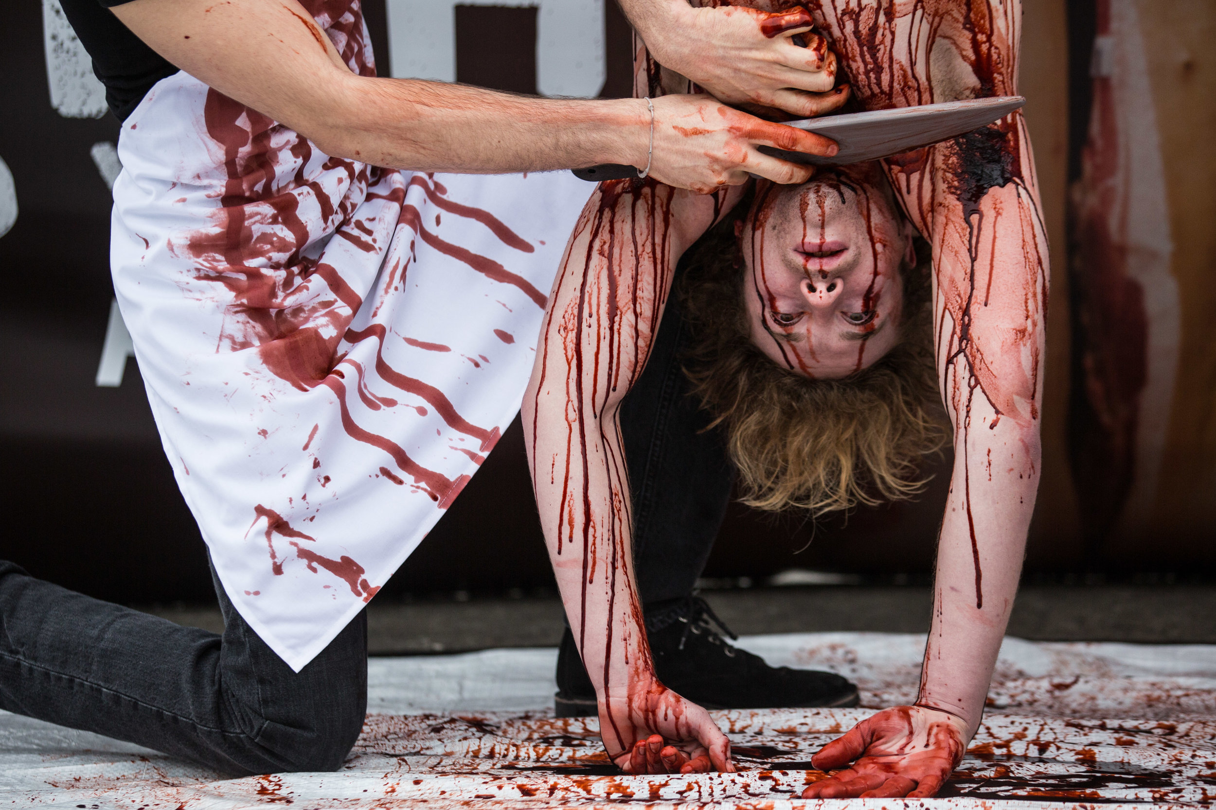 Activists from PETA performed a mock execution of a man to highlight how animals are killed for meat
