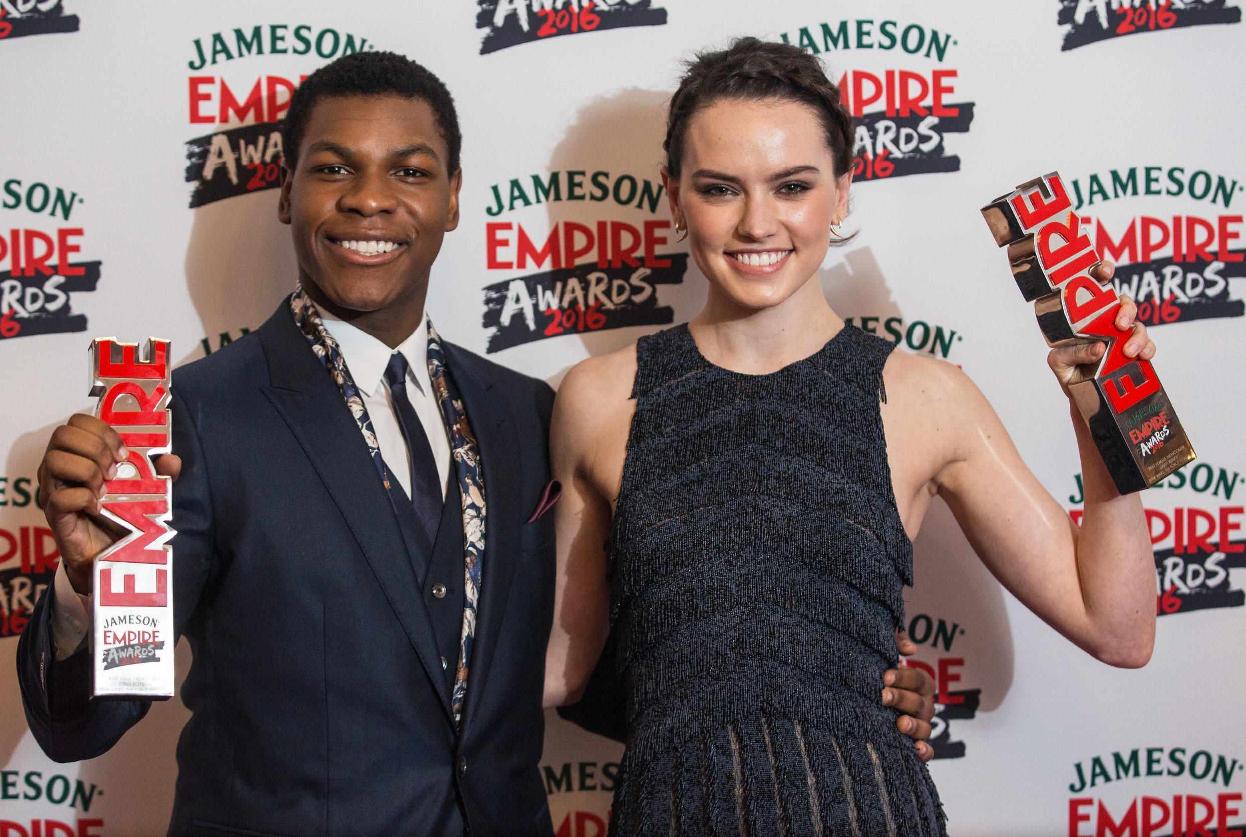 John Boyega and Daisy Ridley, winners of Best New Comers (Female and Male)