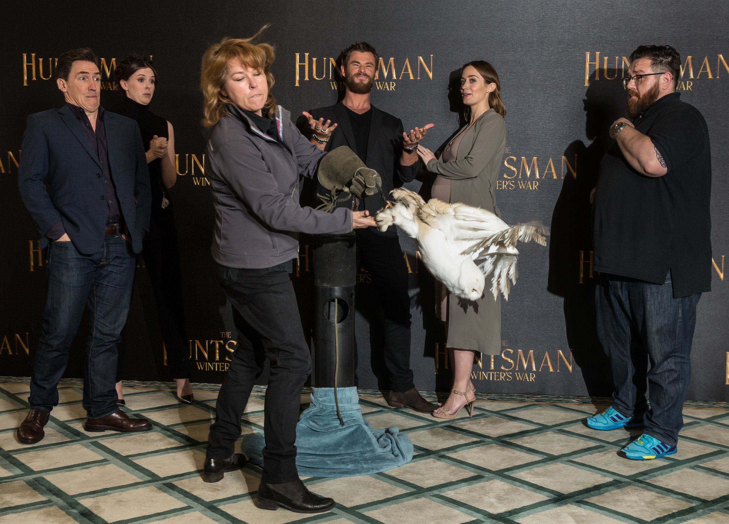 Rob Brydon, Alexandra Roach, Chris Hemsworth, Emily Blunt and Nick Frost with Mr McSchmoogle (A snowy owl)