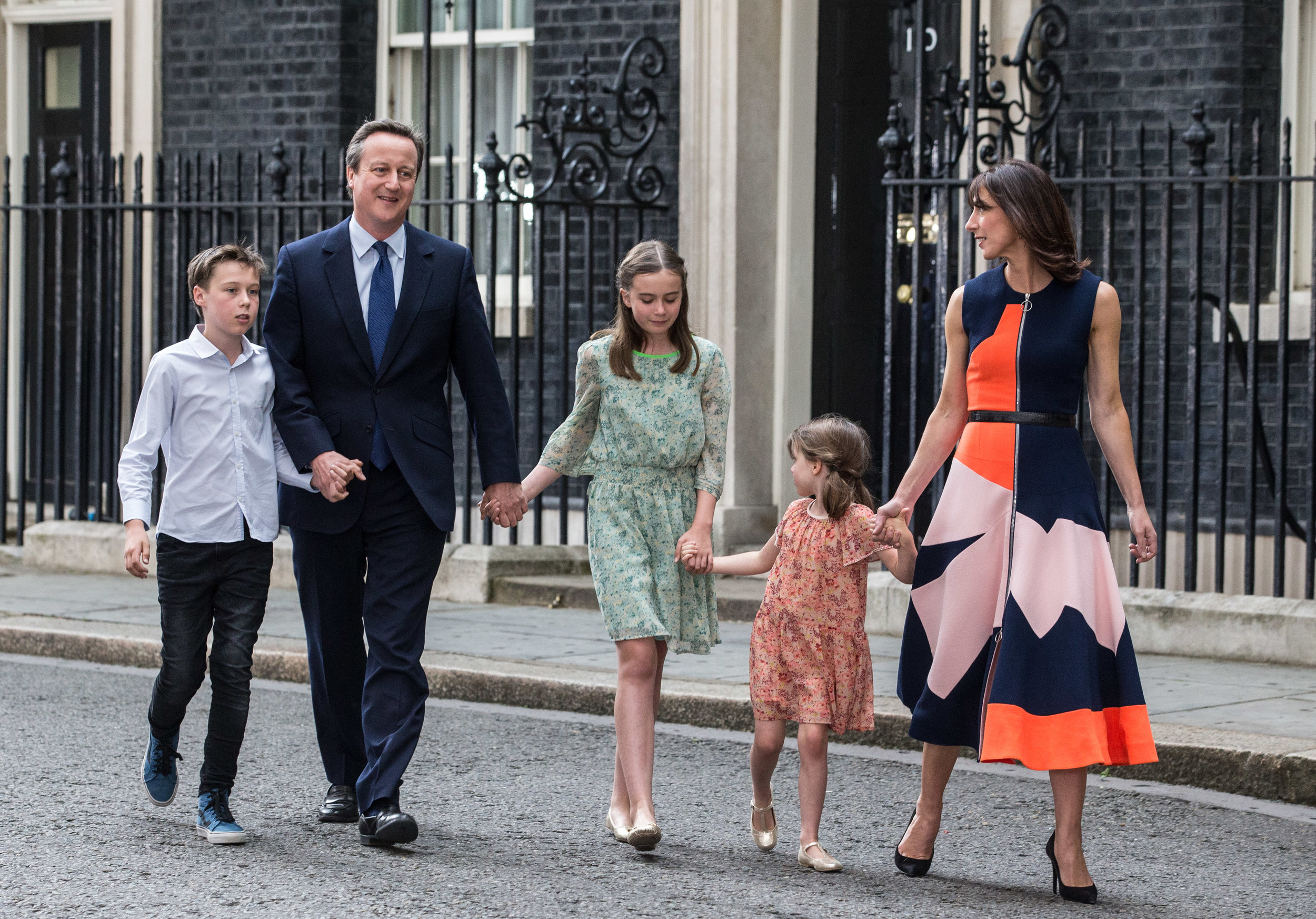 David and Samantha Cameron leaving 10 Downing Street with their children
