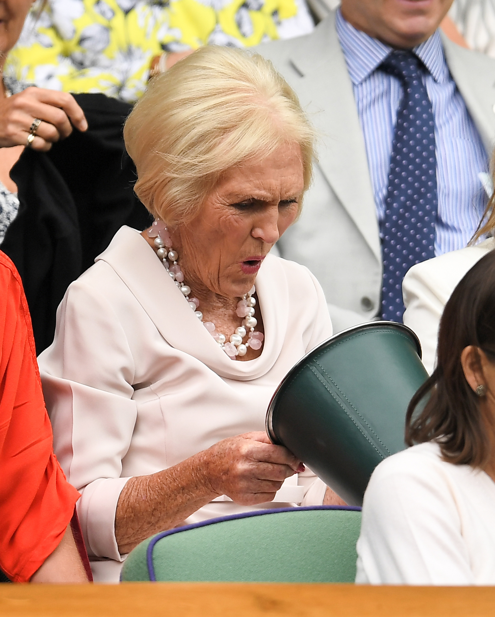 Mary Berry check out the sweet bucket in the Royal Box