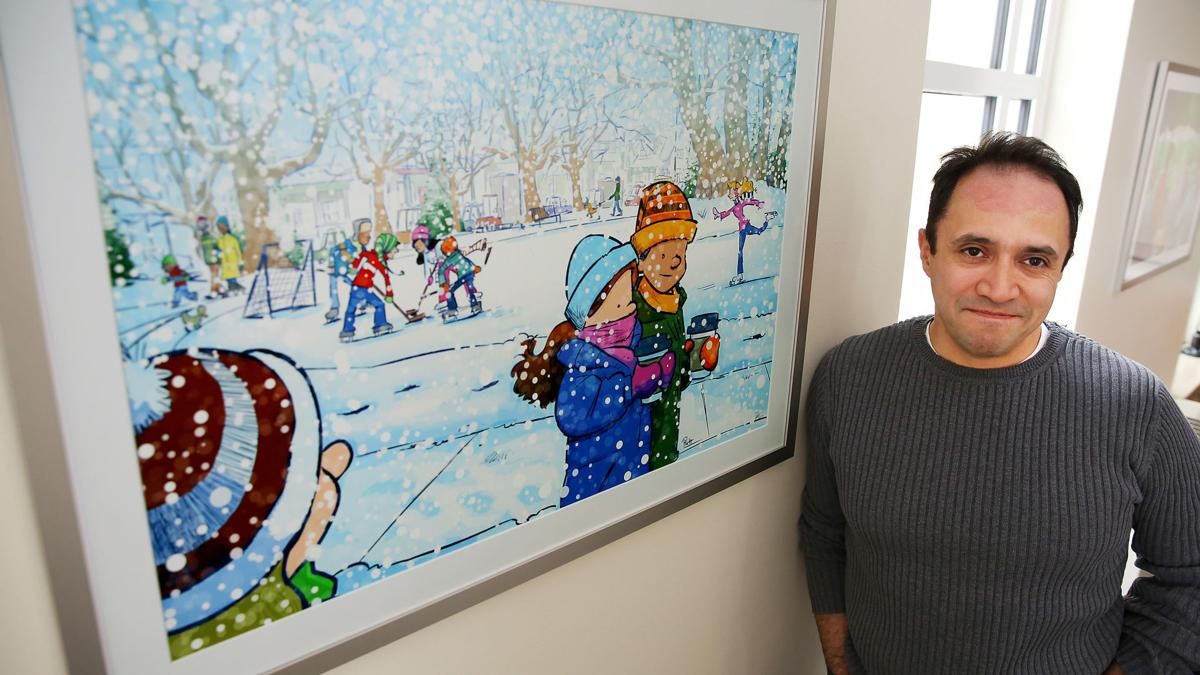 Davenport artist Jason Platt talks about one of two new drawings he did for St. Paul Lutheran Church in Davenport depicting two seasons of activity in Vander Veer Botanical Park.