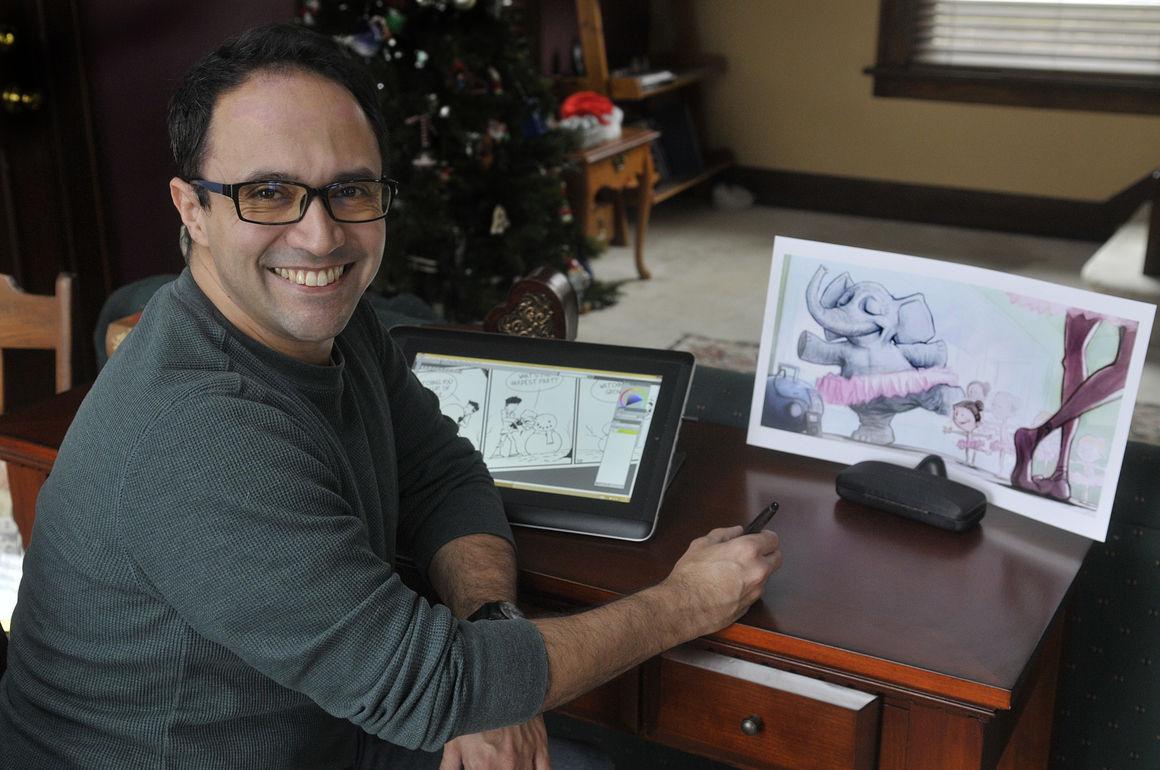 Jason Platt, a freelance illustrator, works out of his Davenport home.