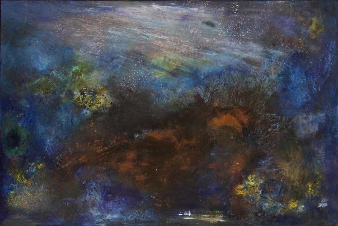 "Snow Cave Dream of Spirit Bear, Angela Tirrell, 2014. Oil, pastel, charcoal, metallic powders, wax, ink, graphite on panel. 78""x 54"""