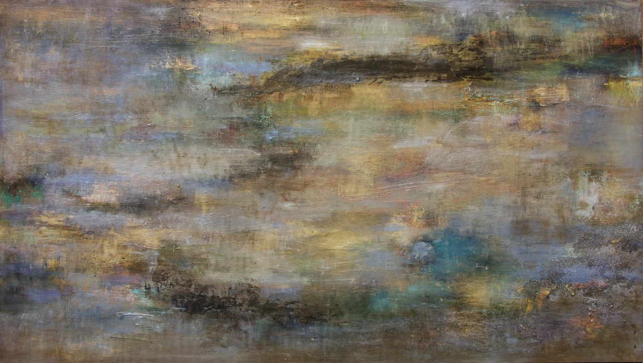 """Shimmer Synth, Angela Tirrell, 2014. Oil paint, pastel, ink, metallic powders, silica on panel 36"""" x 60""""  Private collection Sacramento, California"""