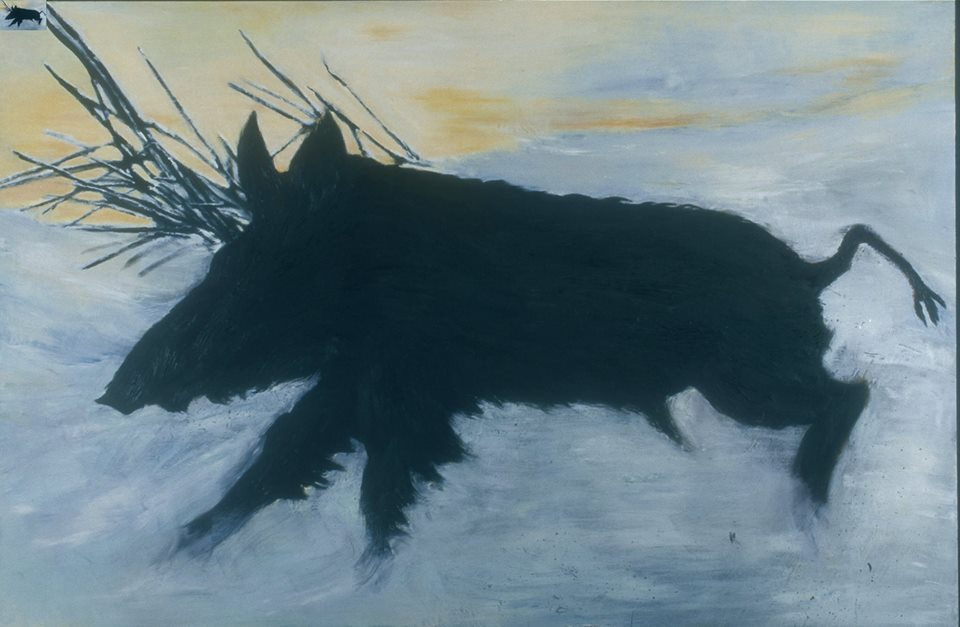 """Spirit Boar, Angela Tirrell, 2016. Oil, oil pastel and wax and charcoal on mahogany panel on panel, 47"""" x 70""""."""