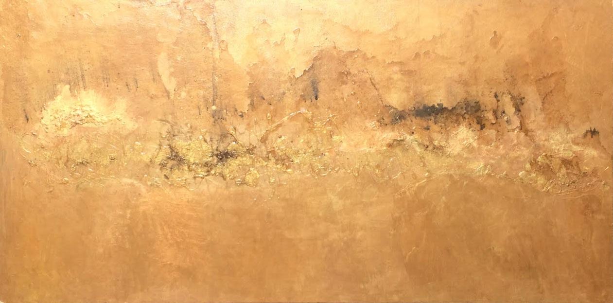 """Caravan — 2011 Acrylic, metallic powders, charcoal & water on panel 24 3/4"""" x 48"""""""