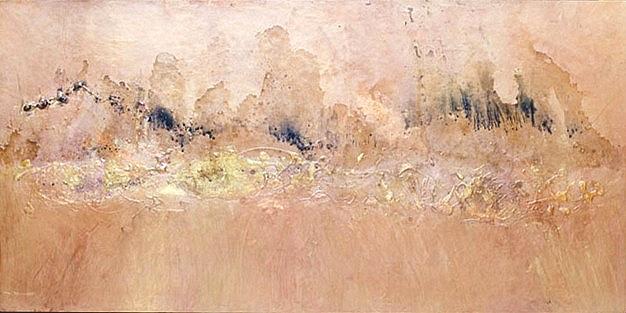 "Samarkand — 2011 Acrylic, metallic powders, charcoal & water on panel 24 3/4"" x 48"". Private collection Berkeley, California"